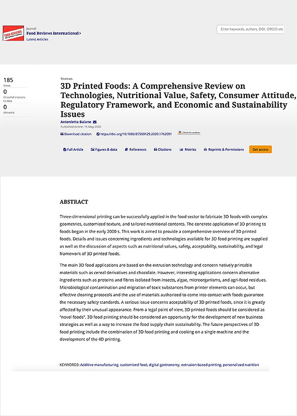 3D Printed Foods: A Comprehensive Review on Technologies, Nutritional Value, Safety, Consumer Attitude, Regulatory Framework, and Economic and Sustainability Issues