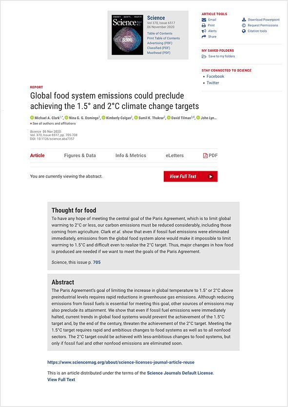 Global Food System Emissions Could Preclude Achieving the 1.5° and 2°C Climate Change Targets