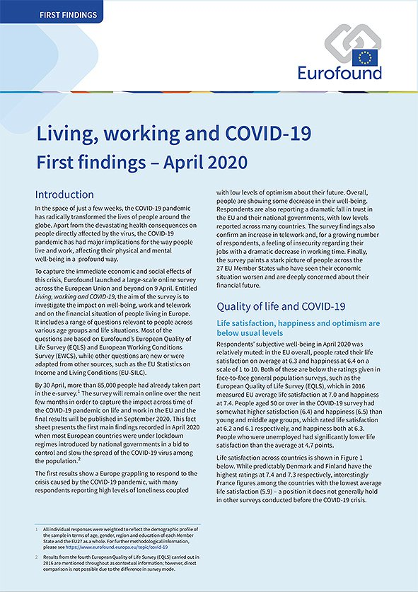 Living, Working and Covid-19 First Findings