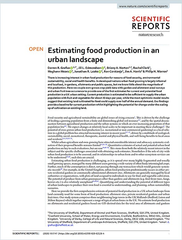 Estimating Food Production in an Urban Landscape