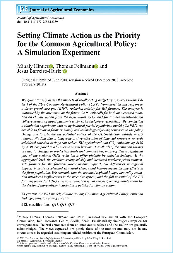 Setting Climate Action as the Priority for the Common Agricultural Policy: A Simulation Experiment