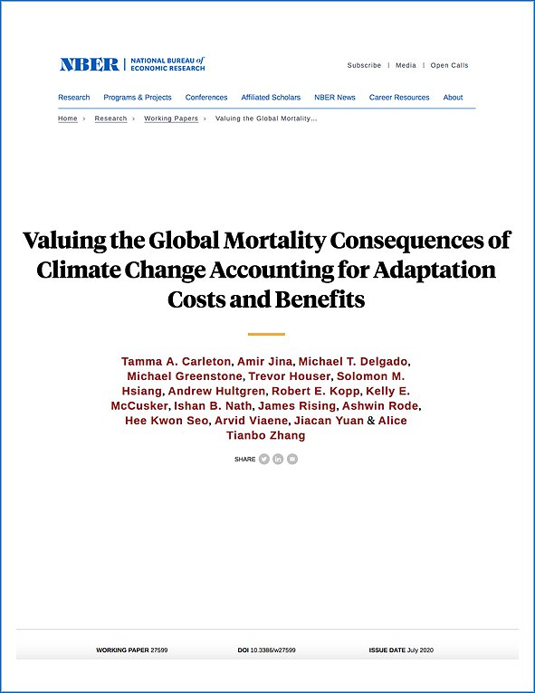 Valuing the Global Mortality Consequences of Climate Change Accounting for Adaptation Costs and Benefits
