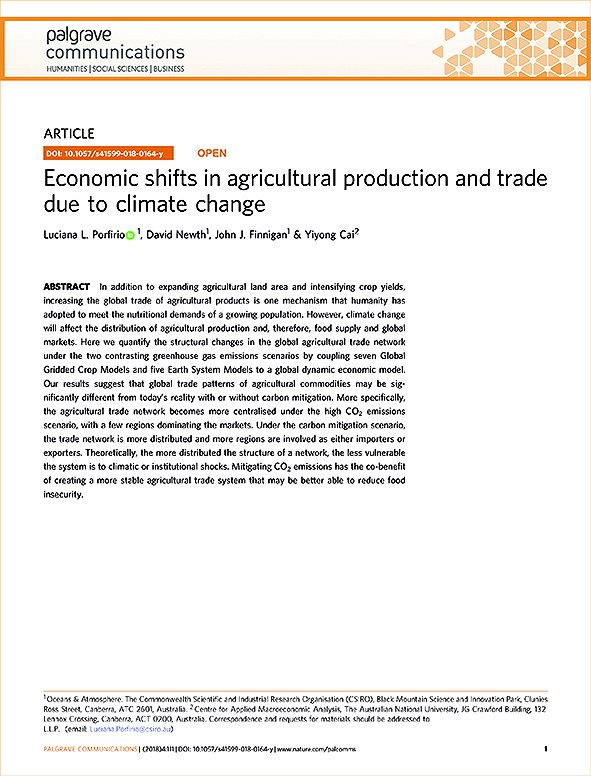 Economic Shifts in Agricultural Production and Trade Due to Climate Change