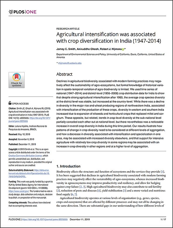 Agricultural Intensification was Associated with Crop Diversification in India (1947-2014)